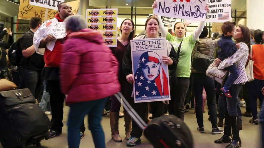 muslim ban, airport protests, Trump, Schumer